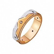Золотое обручальное кольцо Вечная любовь в комбинированном цвете металла с фианитами