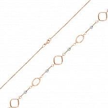 Золотой браслет в комбинированном цвете Аллегория с фигурными элементами-вставками