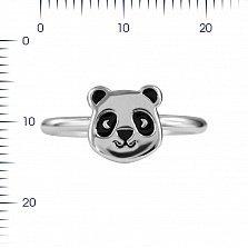 Серебряное кольцо Панда с черной эмалью