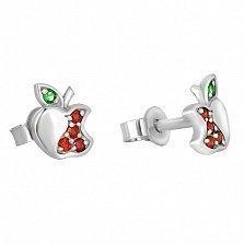 Серебряные сережки с разноцветными фианитами Райское яблочко