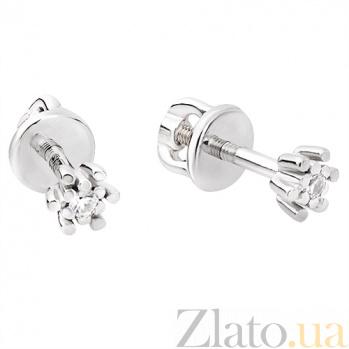Серьги-пуссеты из белого золота с бриллиантами Монако TRF--222017н