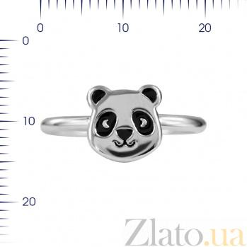 Серебряное кольцо Панда с черной эмалью 000081551