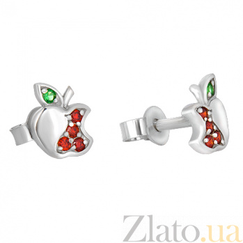 Серебряные сережки с разноцветными фианитами Райское яблочко 262265
