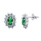 Серьги пусеты серебряные с зеленым цирконием Малинки