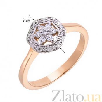 Кольцо золотое Удовольствие в комбинированном цвете с фианитами 12375