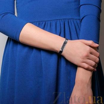 Серебряный браслет с каучуком Пространство AQA--Тб-910034