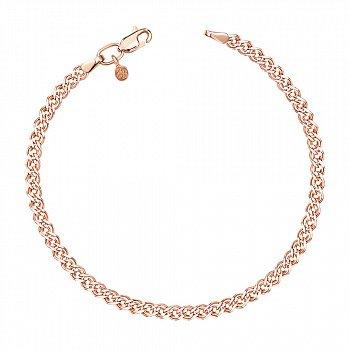 Золотий браслет в червоному кольорі з алмазною гранню, 3мм 000115608