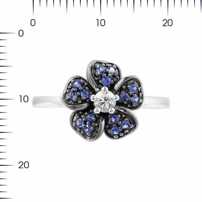 Кольцо из белого золота Анемона с лекосапфиром и синими сапфирами 000080878