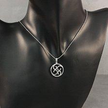 Серебряная подвеска Азалия с узорами и белыми фианитами