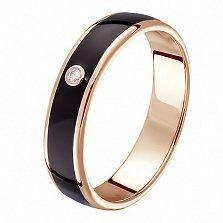 Кольцо в красном золоте Амалия с эмалью и бриллиантом