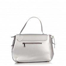 Кожаная деловая сумка Genuine Leather 8838 серебристого цвета на молнии и магнитной кнопке