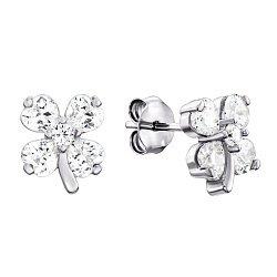 Серебряные серьги-пуссеты с фианитами 000135863