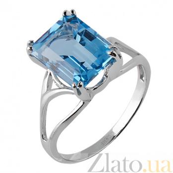 Кольцо из белого золота Атланта с голубым топазом и цирконием TRF--1221563н