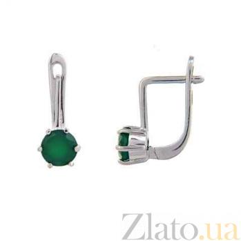 Серебряные сережки с зеленым агатом Дамиана AQA--E00220Ag