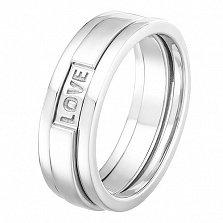 Обручальное кольцо в белом золоте Вечная любовь