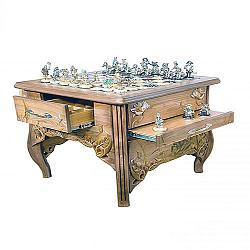 Эксклюзивные ювелирные шахматы с темно-красной яшмой, медовым ониксом, эмалью и позолотой 000004360