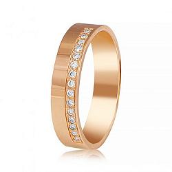 Золотое обручальное кольцо Совместный путь с бриллиантами