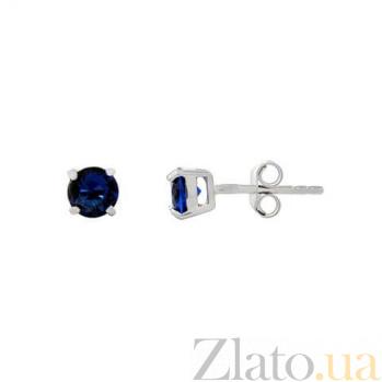 Серебряные пусеты с синим цирконом AQA-2202070/5S