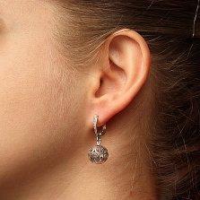 Серебряные серьги-подвески Хризантема с узорным шаром