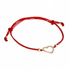 Шелковый браслет Сердце в красном золоте с фианитами