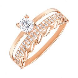 Кольцо из красного золота с цирконием 000146968
