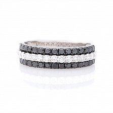 Золотое кольцо Сандрина с черными и белыми бриллиантами