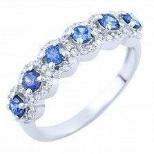 Серебряное кольцо Мирра с синтезированным танзанитом и фианитами