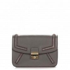 Кожаный клатч Genuine Leather 1603 серого цвета с металлическим замком и плечевым ремнем