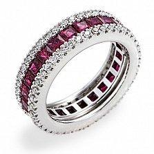Кольцо Hausmann из белого золота с бриллиантами и рубинами