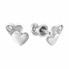 Серебряные пуссеты Двойные сердца с кристаллами циркония