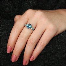 Серебряное кольцо Ализея с кварцем под голубой и лондон топазы и фианитами