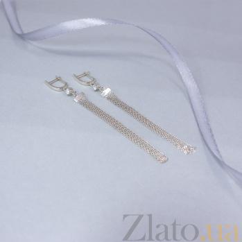 Золотые серьги-подвески Вуаль с фианитами 000095160