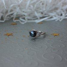 Серебряное кольцо Жаклин с черной жемчужиной и цирконием