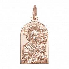 Золотая ладанка Божья Матерь Иверская в красном цвете