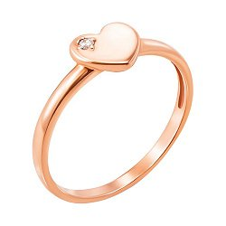 Кольцо из красного золота с фианитом 000129301