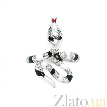 Кольцо из белого золота с изумрудами, эмалью и бриллиантами Мудрая 000029862