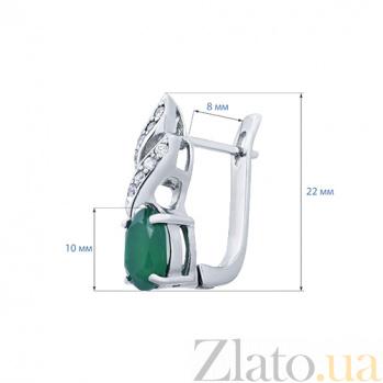 Серебряные серьги с агатом Подснежник AQA--E01205Ag