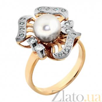 Золотое кольцо с жемчужиной и бриллиантами Rosie  VLA--12450