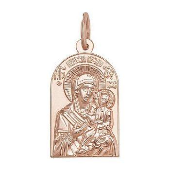 Золотая ладанка Божья Матерь Иверская в красном цвете 000063816
