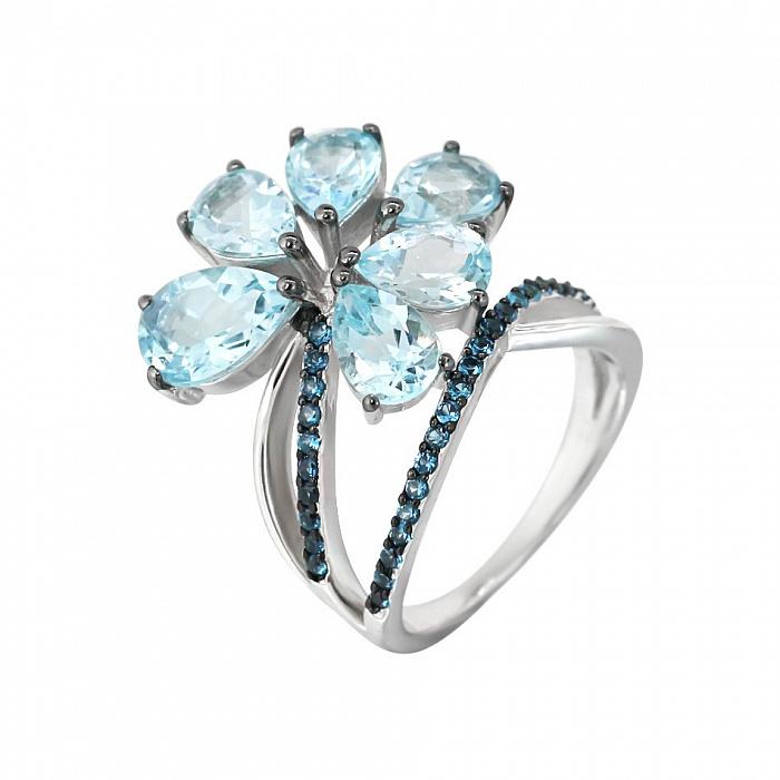 Серебряное кольцо Ингрид с топазами и голубыми фианитами 000081638