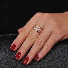 Золотое кольцо Друсилла в комбинированном цвете с фианитами