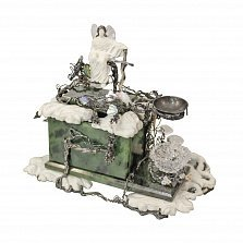 Курильница для ладана Архангел Михаил (Мир Вам) из серебра, нефрита, фарфора, хрусталя и перламутра