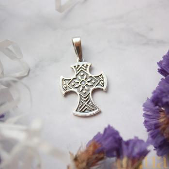 Серебряный узорный крест Казацкий с чернением 000070693