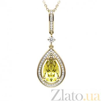 Золотое колье с цитрином и бриллиантами Незнакомка 000029645
