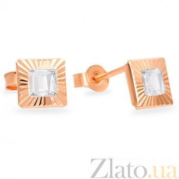 Золотые серьги с фианитами Гентриетта SUF--102173