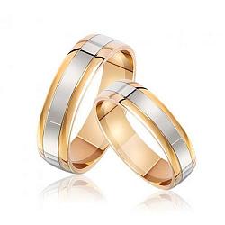 Обручальное кольцо в комбинированном цвете золота 000001640