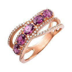 Кольцо из красного золота с родолитом и фианитами 000147933