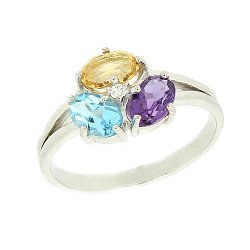 Золотое кольцо с бриллиантом, цитрином, аметистом и топазом 000021098