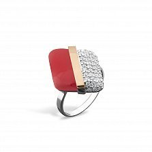 Серебряное кольцо Элоиза с золотой вставкой, имитацией коралла и фианитами