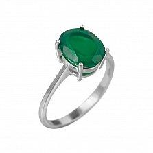 Серебряное кольцо Риана с зеленым агатом